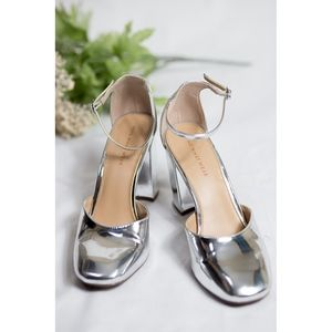 Who What Wear Silver Chunky 90s Heels - Size 10